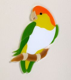 WHITE BELLIED CAIQUE PARROT Precut Stained Glass Art Mosaic Inlay Kit DIY Tile. Ready for use in your mosaic project.