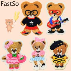 FASTSO 5Pcs/set Cartoon fabric bear baby child clothes applique embroidery patch stickers down coat diy clothes accessories
