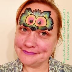 Paint anything- no sponges One stroke face painting Crazy cat kitten design  Makeup art colorful Artist - Marie Sulcoski