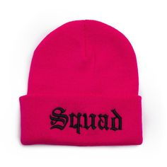 8f42468b47d0b Custom Beanie with word Squad 3D Embroidered Beanie Hat ( 17) ❤ liked on  Polyvore featuring accessories