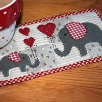 Red Elephants Mug Rug - via @Craftsy