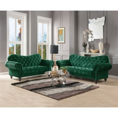 This striking Configurable Living Room Set has button tufting adding texture and shape while the rolled arms bring just the right amount of luxury. The large deep seat cushions feature pocketed springs and velvet wraps for total comfort. Green Sofa, Grey Sofa Living Room, Living Room Sets, Living Room Green, Furniture, Room Set, Velvet Living Room, Green Velvet Sofa, Sofa Set