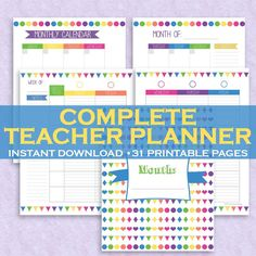 Printable teacher planner with 31 pages. Includes weekly planner pages, monthly calendar pages, behavior log, grades sheets, parent communication log, student health info and more!