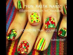 RASTA Nail Art - easy BRIGHT reggae red yellow & green nails
