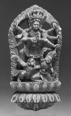 Wrathful Eight-Armed Goddess Slaying a Demon with the Help of Garuda. Nepal (Kathmandu Valley), 16th–17th century. Ivory, h. cm. 11.5. New York, The Metropolitan Museum.