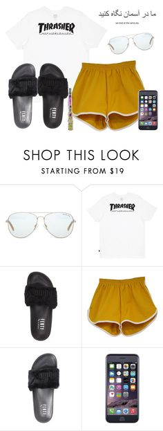 """Untitled #974"" by xhappymonstermusicx ❤ liked on Polyvore featuring Michael Kors, HUF and Puma"