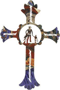 Western cross metal wall art