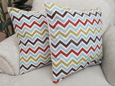 red and light blue accent pillows