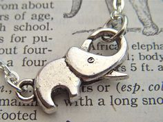 Tiny Elephant Necklace Silver Tone Metal Fashion Jewelry Clasp Trunk Up For Good Luck Costume Jewelry