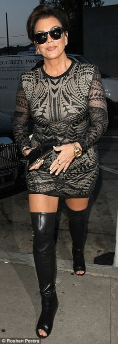 Night on the town: The 59-year-old momager dressed in a body hugging dress and thigh-high ...