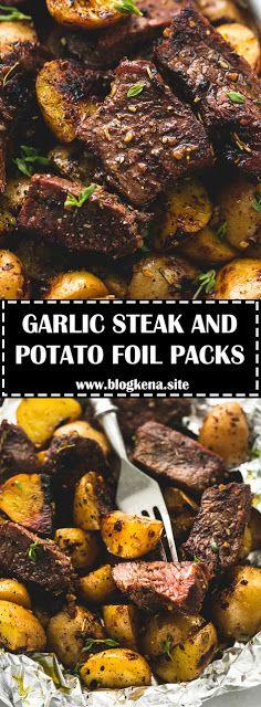 GARLIC STEAK AND POTATO FOIL PACKS - #recipes