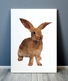 Amazing Rabbit decor. Gorgeous Wildlife poster for your home and office. Adorable Geometric print. Pretty contemporary Animal print. SIZES: A4