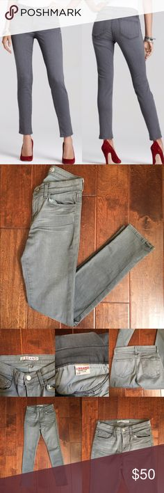 """J Brand Gray 11 Mid Rise Skinny Jeans in Wink Updated with a slightly higher rise, the 811 cut from J Brand Jeans fits slim and tucks easily into boots with no bunching. 811 cut in the wink (gray) wash. Mid-rise style sits high on hip. Fitted all the way through hip and ankle; 11"""" approx. leg opening. Cropped at ankle to eliminate bunching; approx. 29"""" inseam.  Five-pocket style; clean back pockets. Button/zip fly; belt loops. Cotton/spandex. J Brand Jeans Skinny"""