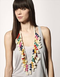 Image 3 of ASOS Long Macrame Necklace With Studding And Wooden Beads