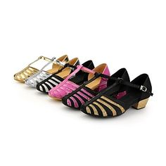 Latin Kids Low Heel Satin upper with buckie Dance shoes(More Colors) - GBP £ 16.38