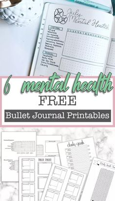 Free Printable Mental Health Bullet Journal Spreads ⋆ The Petite Planner - - Depression and anxiety are tough. I hope these mental health bullet journal printables can help you regain your identity and feel confident again. Bullet Journal Printables, Journal Template, Bullet Journal Ideas Pages, Bullet Journal Inspiration, Journal Pages, Journal Themes, Journal Prompts, Junk Journal, Bullet Journal Spreads