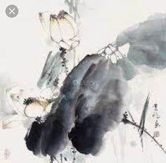 Asian Style, Chinese Style, Chinese Art, Japanese Painting, Chinese Painting, Japanese Waves, Lotus Art, Japanese Drawings, Grey Flowers