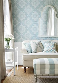 House of Turquoise: Thibaut House Of Turquoise, My Living Room, Living Spaces, Decoration Gris, Home Wallpaper, Fabric Wallpaper, Fine Furniture, Furniture Market, Family Room