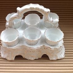 ANTIQUE, CHARMING EARLY 20TH CENTURY FRENCH PORTE COQUETIER Egg Cup Holder