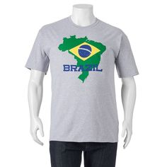 """Big & Tall """"Brazil"""" Tee, Men's, Size: Xl Tall, Med Grey"""