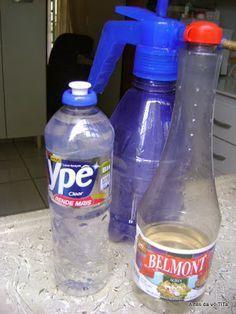 MULTIUSO CASEIRO - 1 frasco do detergente e 1/2 frasco do vinagre em um borrifador e pronto. Limpa tudo,fogão, geladeira, azuleijos, pias e vaso sanitario poia o vinagre é um otimo desinfetante.