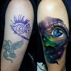 Realistic Eye Universe Tattoo On Half Sleeve