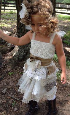 little girl boho chic romper | Boho Flower girl dress,One of a Kind Vintage girls dress, Little girl ...