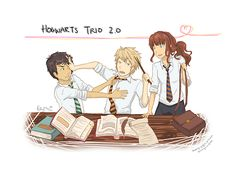 the Silver Trio Ablus S. Potter, Scorpius Malfoy, and Rose Weasley. I usualy like Al and Scorp in slytherin and Rose in Gryffindor but this I like