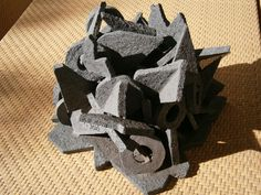 Triangulated Sculpture 1 Stoneware clay. Reduction Technique producing a Blue / Black appearance.