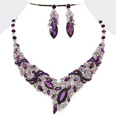 Amethyst Purple Lavender Crystal Rhinestone Leaf Princess Marquise Jewel Stone Formal Silver Chunky Necklace Set Elegant Costume Jewelry