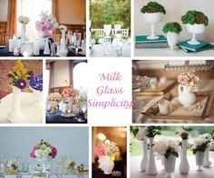 milk glass centerpieces - liking the smaller multi shape/size vases for centerpieces with small clusters of flowers, using larger vases for on buffet table, etc Vase Centerpieces, Wedding Centerpieces, Wedding Decorations, Table Decorations, Centerpiece Ideas, Bud Vases, Diy Wedding, Rustic Wedding, Wedding Ideas