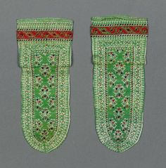 Pair of socks        Indian, late 19th or early 20th century         India  Dimensions      Height x width: 10 3/4 x 4 1/2 in. (27.3 x 11.4 cm)  Medium or Technique      Silk knit     Accession Number      59.994a-b