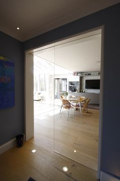 Clever Bentley Manor Project Uses Frameless Internal Sliding Glass Doors – IQ Glass News Internal Glazed Doors, Internal Sliding Doors, Sliding Glass Door, Glass Doors, Glass Walls, Door Design, Wall Design, Interior Barn Doors, Interior Design