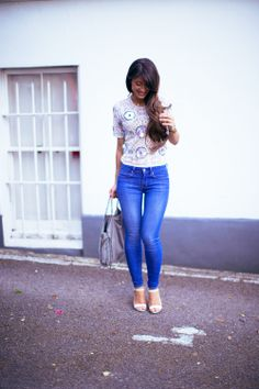 Summer fashion , embellished top Outfit details: top - River Island , jeans - Gap , bag - Stella McCartney , shoes - ASOS