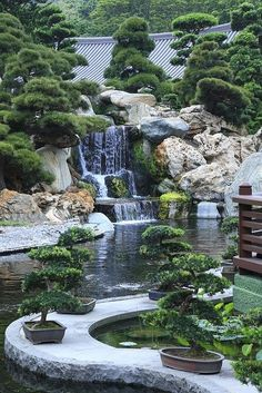 Amazing Japanese garden with waterfall. <3 Garden, ideas. pation, backyard, diy, vegetable, flower, herb, container, pallet, cottage, secret, outdoor, cool, for beginners, indoor, balcony, creative, country, countyard, veggie, cheap, design, lanscape, decking, home, decoration, beautifull, terrace, plants, house. #herbgardenforbeginners