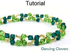 Dancing Clovers Shamrock St Patricks Day Crystal Beaded Bracelet Beading Pattern Tutorial