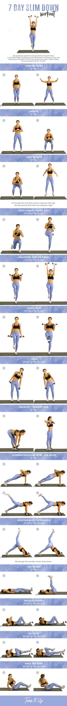 Tone It Up 7 Day Slim Down Workout!  Follow Personal Trainer at Pinterest.com/SuperDFitness Now!