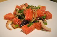 Watermelon, Fennel, Feta, Black Olive Salad