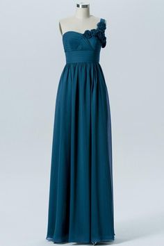 37a6fa2197 Winter Teal A Line Floor Length Sweetheart One Shoulder Mid Back Cheap Bridesmaid  Dresses B186