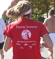 2010 Chicago Marathon Equine Dreams charity runner. The organization promotes therapeutic horseback riding to people living with disabilities. The athlete on the upper right runs for the horses--and for those they help.