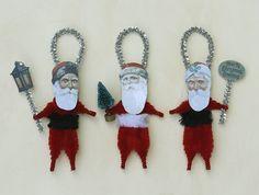 Christmas Ornaments - Chenille Ornaments - Vintage Style Santas