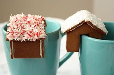 mini gingerbread houses with your coffee, tea, or hot chocolate @Kristine Grunander @Amy Rudolph