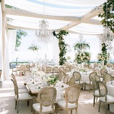 The reception design was set seemingly 'amongst the clouds' with crystal chandeliers, ivory draping and overflowing greenery. Creative Team: Planning: @MindyWeiss Floral and Design: @MarksGarden Furnishings and Design: @RevelryAngela @RevelryRomina for @RevelryEventDesign Photography: @JoseVilla