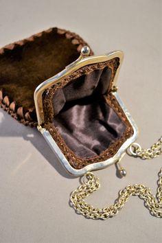 Retro Brown Velvet Vintage Bag Handbag Small Bag Evening