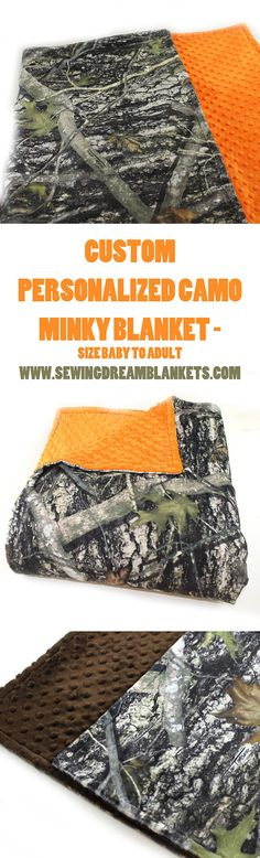 SALE Camo Minky Baby Blanket Boy Brown Timber Personalized