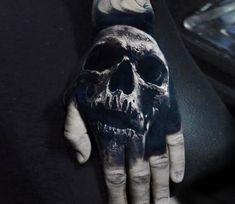 Skull tattoo by Eliot Kohek Best tattoos Evil Skull Tattoo, Skull Hand Tattoo, Evil Tattoos, Black Ink Tattoos, Skull Tattoos, Body Art Tattoos, Sleeve Tattoos, Hand Tattoos For Guys, Small Tattoos For Guys