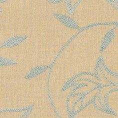 SHALIMAR EMBROIDERY, Aqua on Natural, W88017, Collection Cypress from Thibaut