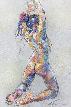 ADRIANA 1 by Raluca Vulcan.  Colourful approach to life drawing!