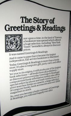 Greetings readings in hunt valley md has books including the story of greetings readings a framed piece of art hanging outside the office m4hsunfo