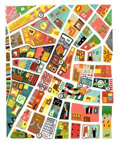 Antoine Corbineau - Illustrated Map of Chueca area of Madrid Travel Illustration, Graphic Design Illustration, Impression Textile, Map Quilt, Art Carte, Country Maps, Mid Century Art, Web Design, City Maps